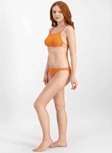 Arnetta  Petrol Mavi Halter Bikini Üstü Oranj